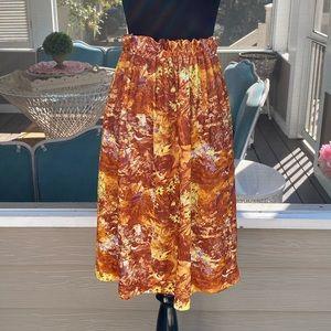 Vintage 70s Bird Forrest Print Aline Skirt